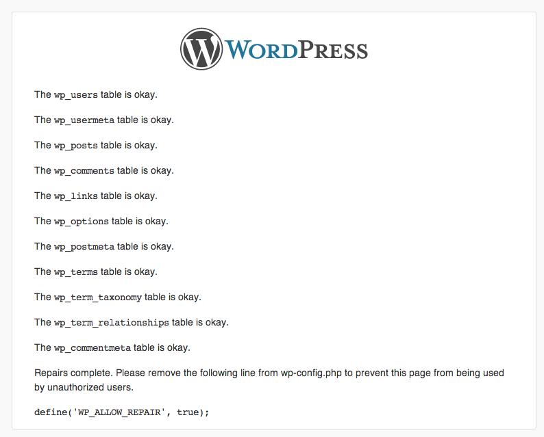WP_ALLOW_REPAIR WordPress screen displaying result of database repair operation