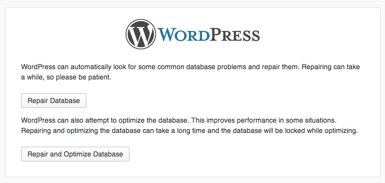 WordPress screen when the repair.php file is accessed and the WP_ALLOW_REPAIR constant is active