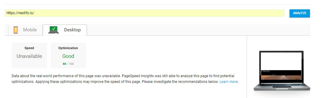 nestify google page speed insight